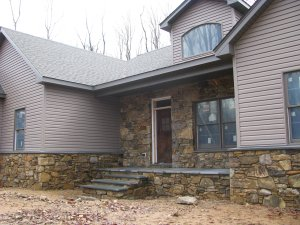 Front of New Ranch Home with Real Stone Masonry